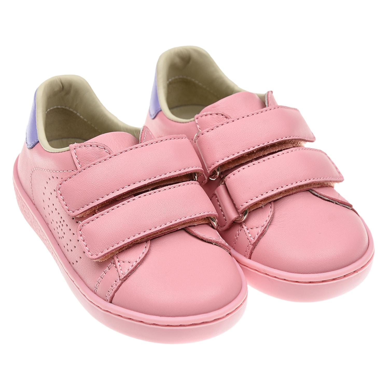 Купить Розовые кеды на липучках GUCCI детские, Розовый, Верх:100% кожа, Подкладка:100% кожа, Стелька:100% кожа, Подошва:100% термопластичная резина