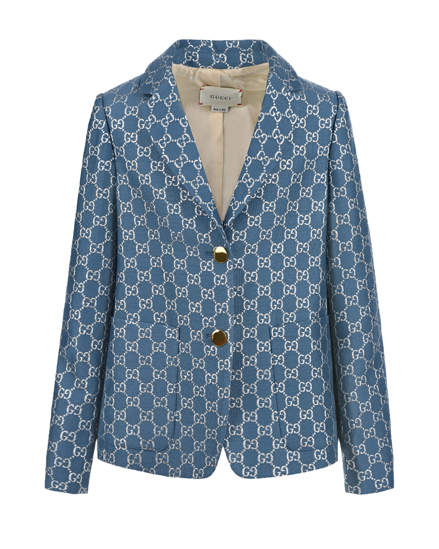 Купить Голубой пиджак с логотипом GUCCI детский, 68%шерсть+21%шелк+11%метал.полиэстер, 100%купро