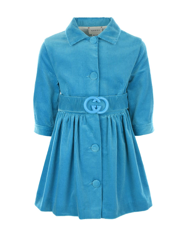 Купить Вельветовое платье с поясом GUCCI детское, Нет цвета, 100%хлопок