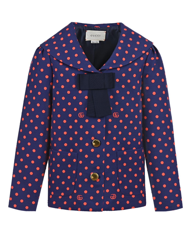 Купить Синий пиджак в красный горох GUCCI детский, Мультиколор, 99%хлопок+1%полиамид, 60%вискоза+40%хлопок, 100%купро