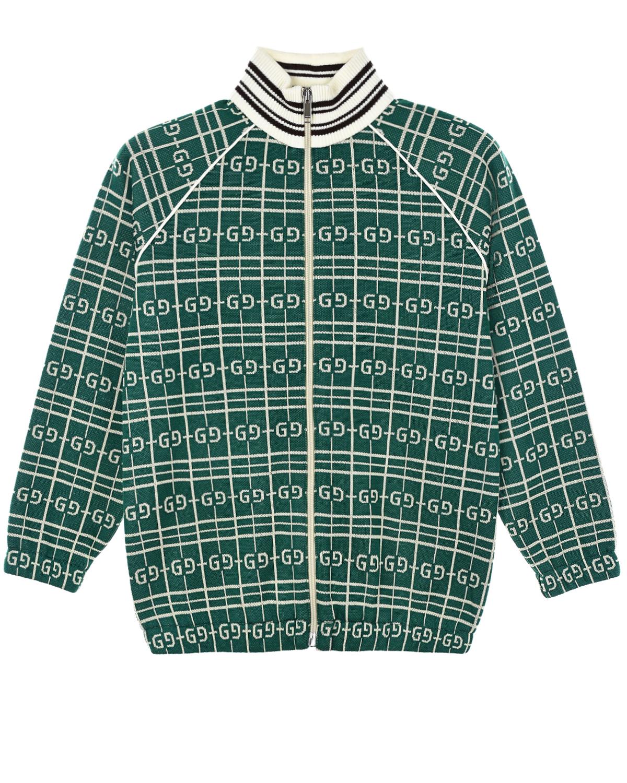 Купить Зеленая спортивная куртка GUCCI детская, Зеленый, 75%хлопок+25%полиэстер, 90%шерсть+9%полиамид+1%эластан, 100%полиэстер