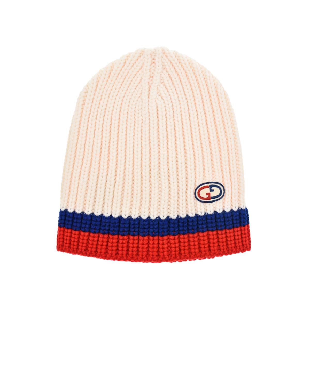 Купить Шерстяная шапка с узором в полоску GUCCI детская, Белый, 100%шерсть