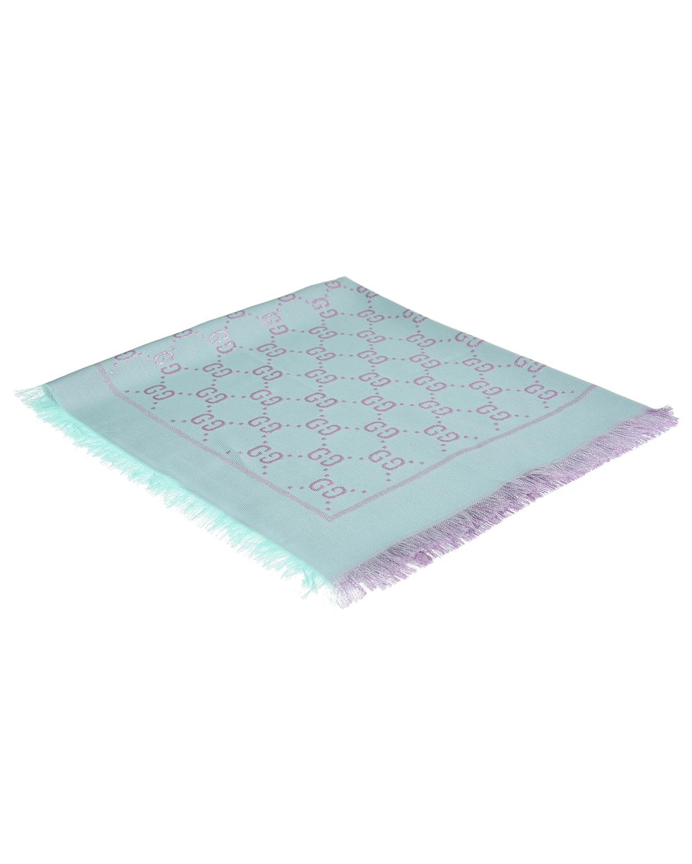 Купить Голубой платок с паттерном GG GUCCI детский, 31%вискоза+27%хлопок+23%шерсть+10%шелк+9%метал.волокно