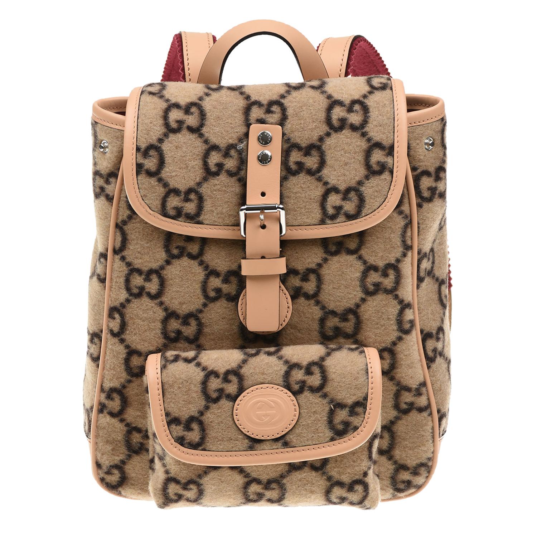 Купить Бежевый рюкзак 21х8х24 см GUCCI детский, 67%шерсть+28%полиамид+3%полиэстер+2%вискоза