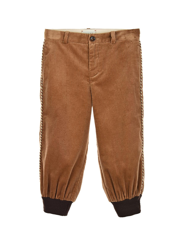Купить Бежевые брюки из вельвета GUCCI детские, Бежевый, 100%хлопок, 100%акрил, 95%шерсть+4%полиамид+1%эластан