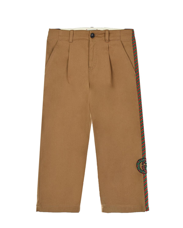 Купить Прямые брюки из габардина с вышитым лампасом GUCCI детские, Бежевый, 98%хлопок+2%эластан, 100%полиэстер