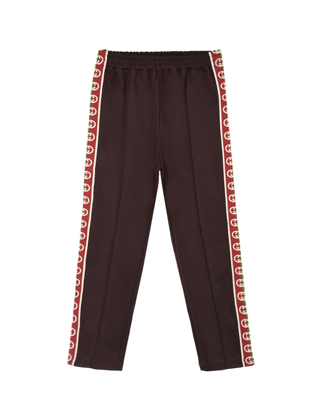 Купить Коричневые спортивные брюки с лампасами GUCCI детские, Коричневый, 55%полиэстер+45%хлопок, 100%полиамид