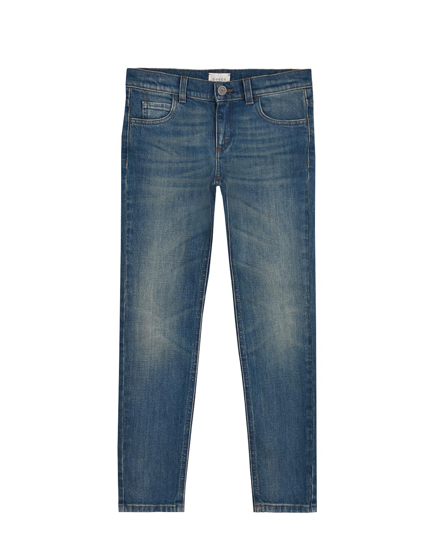 Купить Синие джинсы для мальчиков GUCCI детские, Синий, 98%хлопок+2%эластан, 100%нат.кожа, 100%полиэстер