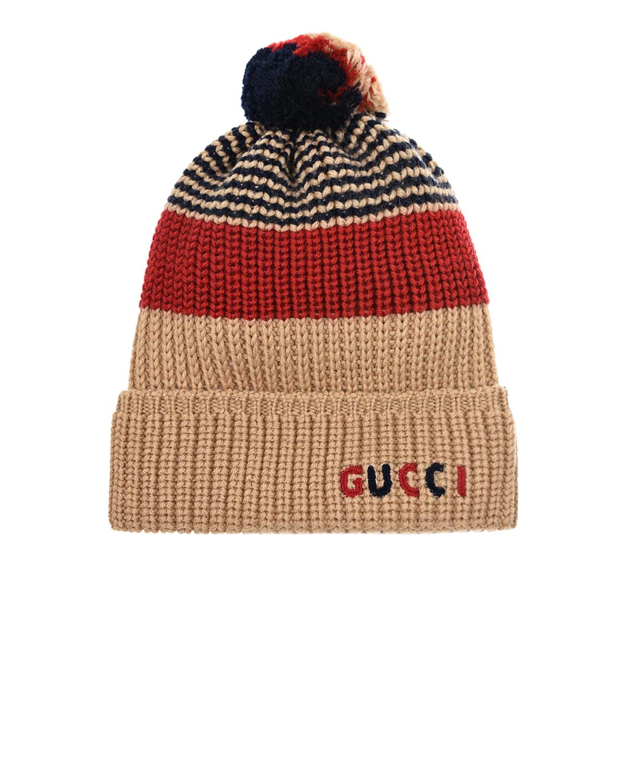 Купить Бежевая шапка из шерсти с вышивкой GUCCI детская, Мультиколор, 100%шерсть
