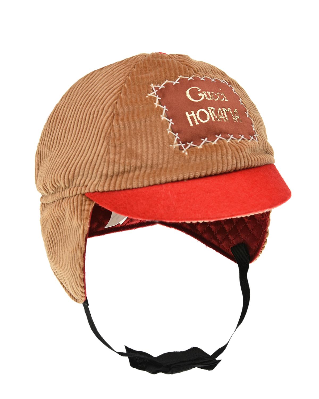 Бежевая шапка с красным козырьком GUCCI детская, Мультиколор, 100%хлопок, 70%купро+30%шерсть, 50%вискоза+50%хлопок, 72%вискоза+28%шелк, 60%вискоза+40%хлопок, 80%полиэстер+20%метал.волокно  - купить со скидкой