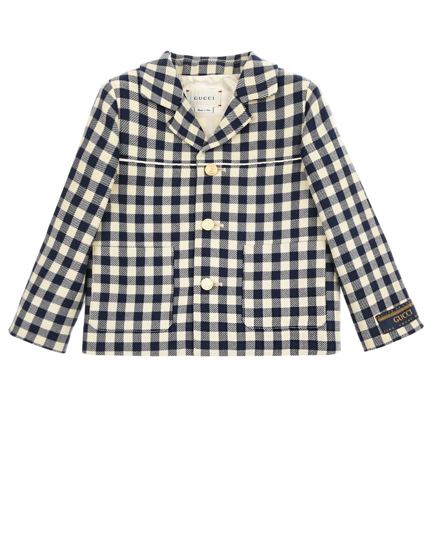 Купить Клетчатый пиджак с белым кантом GUCCI детский, Синий, 100%шерсть, 100%хлопок, 100%полиэстер, 100%вискоза
