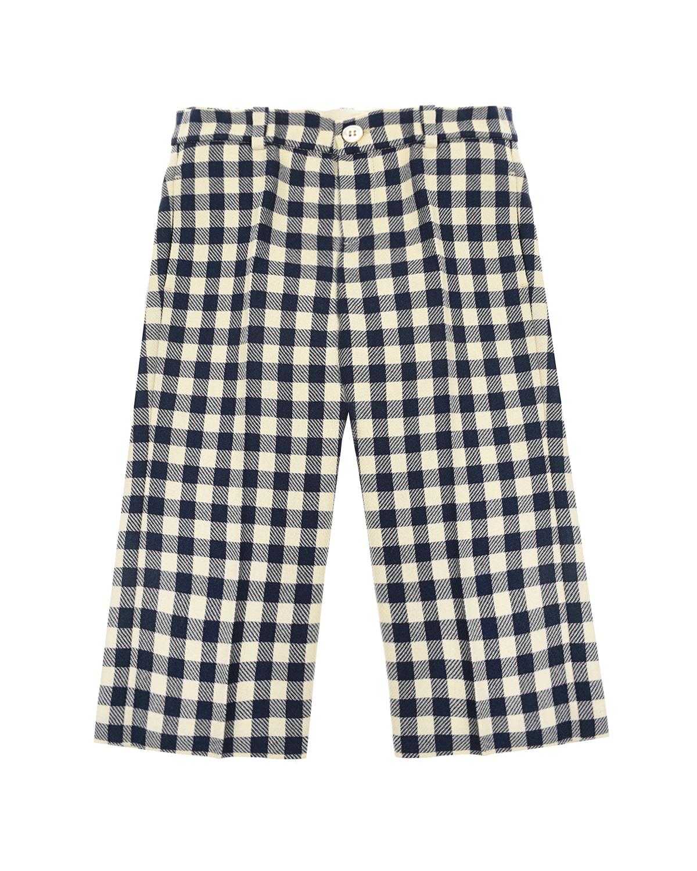Купить Классические брюки в черно-белую клетку GUCCI детские, Синий, 100%шерсть, 100%купро