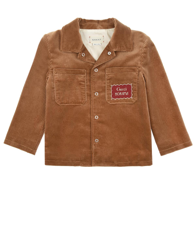 Купить Коричневый вельветовый пиджак GUCCI детский, Бежевый, 100%хлопок, 87%полиэстер+13%металлизированный полиэстер