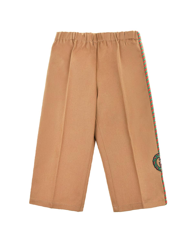 Купить Прямые брюки с вышитым лампасом GUCCI детские, Бежевый, 98%хлопок+2%эластан, 100%полиэстер