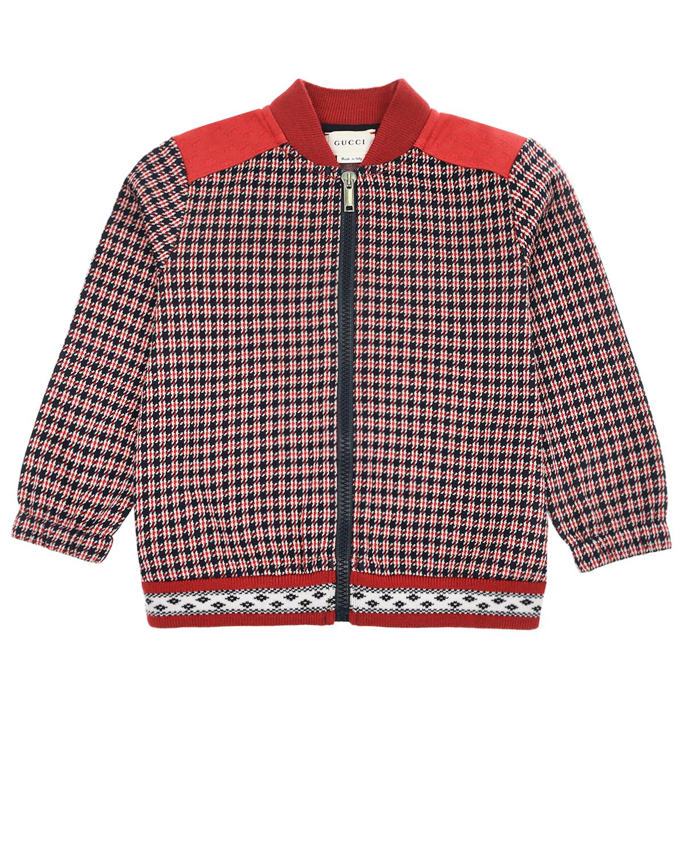 Купить Спортивная куртка с клетчатым принтом GUCCI детская, Синий, 100%хлопок, 95%шерсть+4%полиамид+1%эластан, 65%полиэстер+35%хлопок