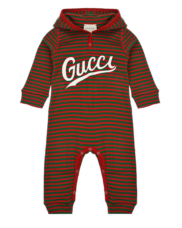 Комбинезон в красно-зеленую полоску GUCCI детский, Мультиколор, 98%хлопок+2%эластан, 100%хлопок  - купить со скидкой