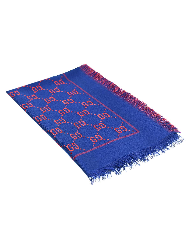 Купить Ярко-синий платок с логотипом GUCCI детское, Синий, 31%вискоза+27%хлопок+23%шерсть+10%шелк+9%металлиз.волокно