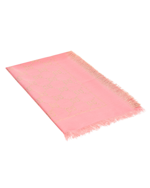 Купить Розовый платок с логотип GUCCI детский, 31%вискоза+27%хлопок+23%шерсть+10%шелк+9%металлиз.волокно