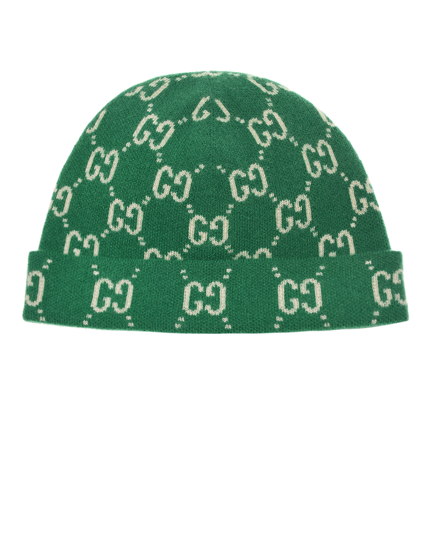 Купить Зеленая шапка из шерсти с узором GG GUCCI детская, Зеленый, 100%шерсть