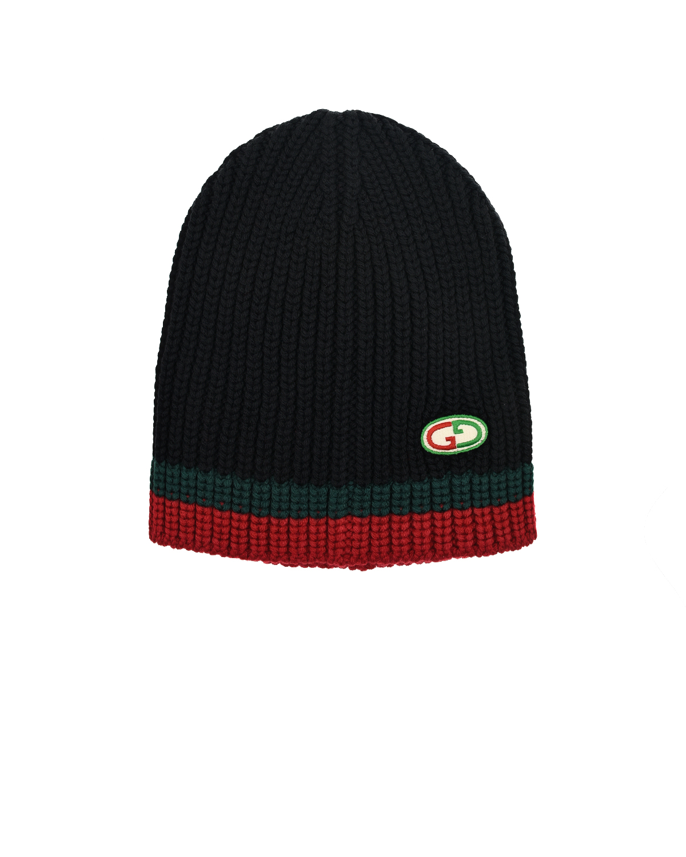 Купить Шерстяная шапка с узором в полоску GUCCI детская, Мультиколор, 100%шерсть, 100%полиэстер