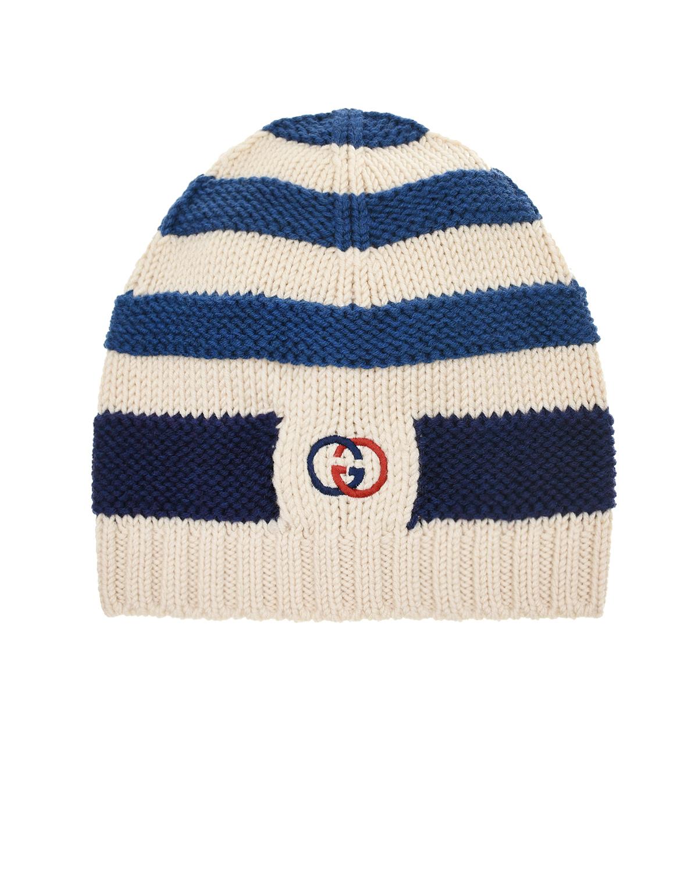 Купить Шерстяная шапка с узором в синюю полоску GUCCI детская, Мультиколор, 100%шерсть, 100%полиэстер