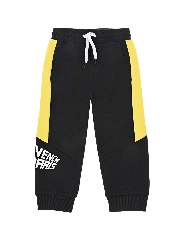 Купить Черные спортивные брюки с желтыми вставками Givenchy детские, Черный, 100%хлопок, 98%хлопок+2%эластан, 86%хлопок+14%полиэстер