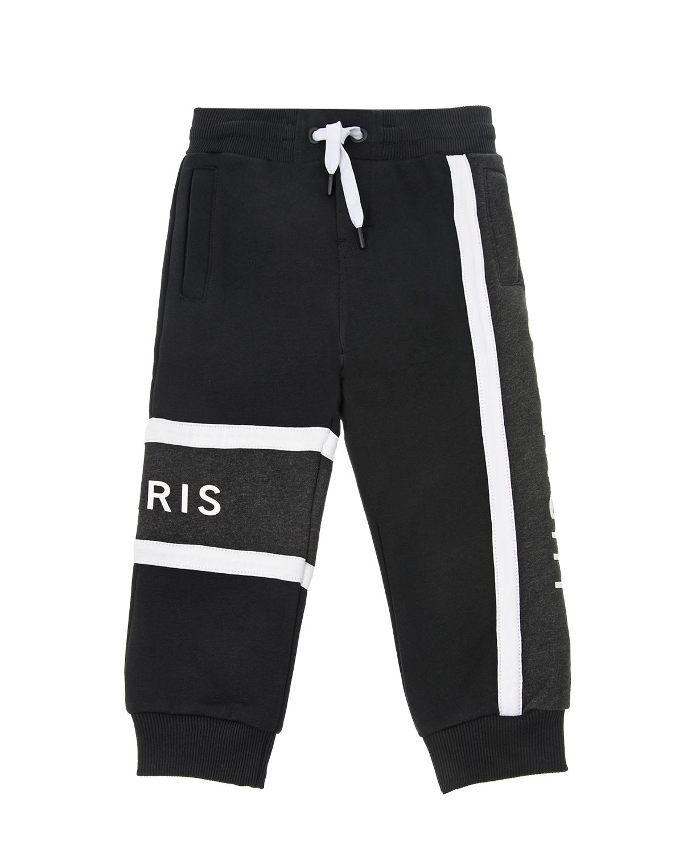 Купить Черные спортивные брюки с белыми полосками Givenchy детские, Черный, 100%хлопок, 98%хлопок+2%эластан, 86%хлопок+14%полиэстер