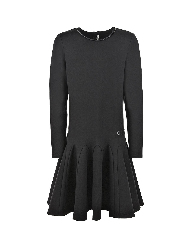 Купить Черное платье с заниженной талией Givenchy детское, Черный, 72%вискоза+24%полиамид+4%эластан, 63%полиэстер+37%полиуретан
