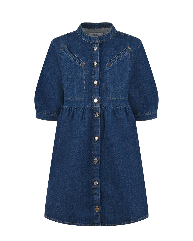 Купить Синее джинсовое платье Givenchy детское, Синий, 98%хлопок+2%эластан, 65%полиэстер+35%хлопок