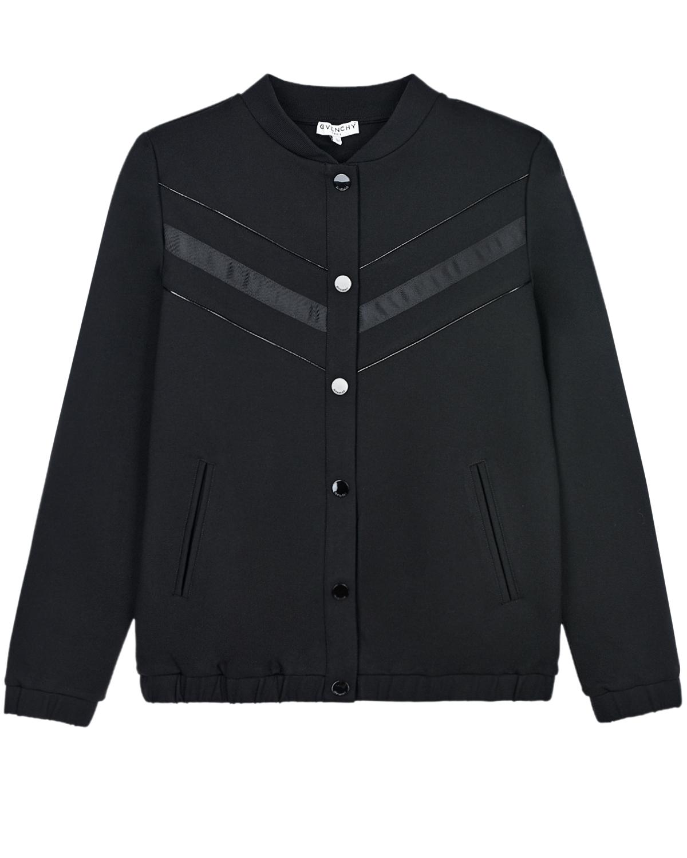 Купить Черная куртка с логотипом в тон Givenchy детская, Черный, 100%хлопок, 97%полиамид+3%эластан, 72%вискоза+24%полиамид+4%эластан, 63%полиэстер+37%полиуретан