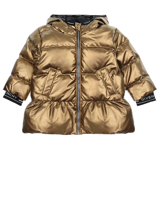 Купить Стеганое пальто-пуховик с капюшоном Givenchy детское, Золотой, 100%полиэстер, 90%пух+10%перо