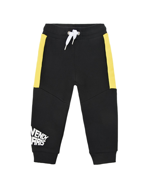 Купить Черные спортивные брюки с желтыми вставками Givenchy детские, Черный, 98%хлопок+2%эластан, 86%хлопок+14%полиэстер, 100%хлопок