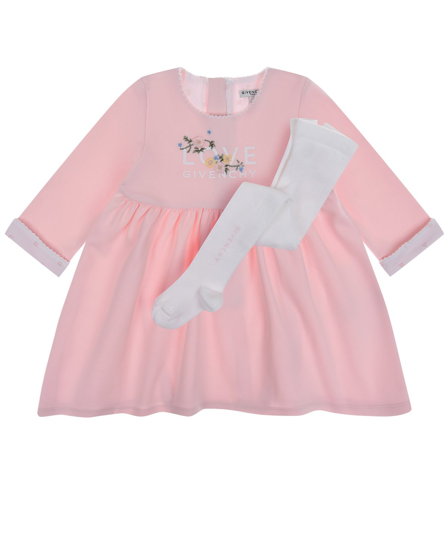 Купить Розовое платье в комплекте с колготками Givenchy детское, Нет цвета, 100%хлопок, 77%хлопок+20%полиамид+3%эластан