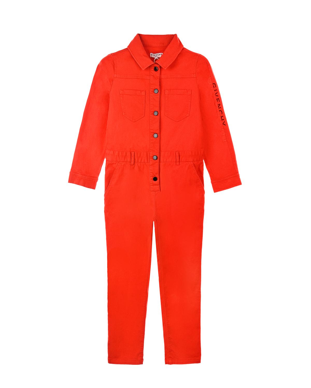 Купить Комбинезон с логотипом на рукаве Givenchy детский, Красный, 100%хлопок, 98%хлопок+2%эластан
