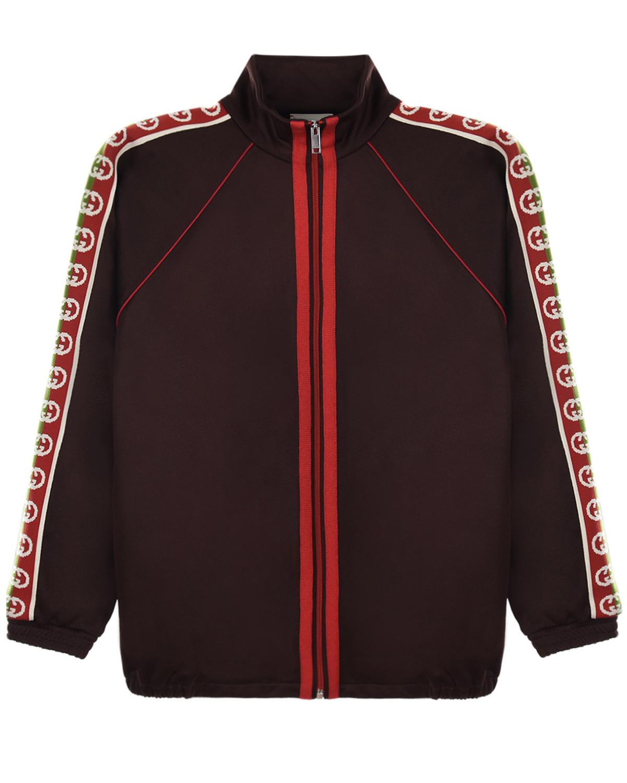 Купить Коричневая спортивная куртка GUCCI детская, Коричневый, 55%полиэстер+45%хлопок, 100%хлопок, 100%полиэстер, 100%полиамид