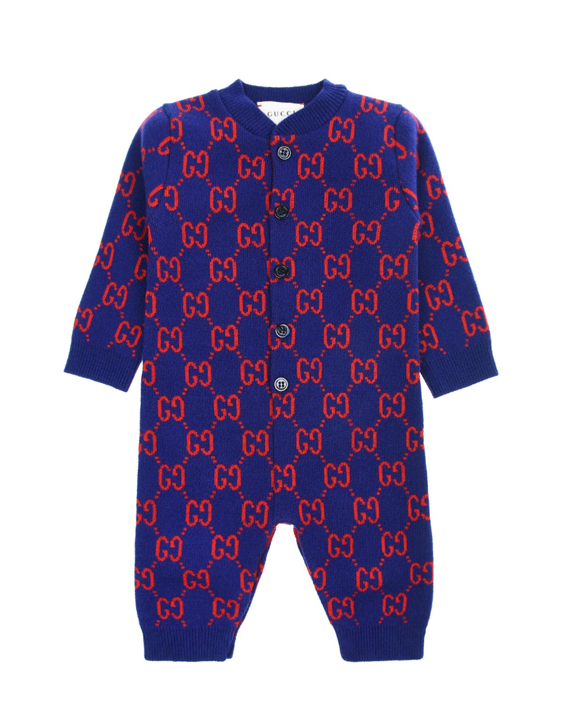 Купить Синий комбинезон из шерсти GUCCI детский, 100%шерсть, 100%полиэстер