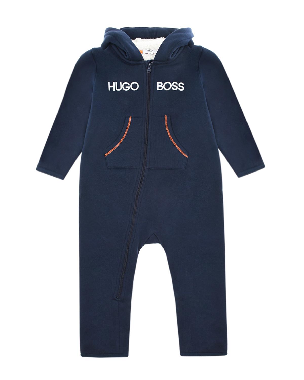 Купить Синий комбинезон из флиса Hugo Boss детский, 80%хлопок+20%полиэстер, 100%полиэстер, 100%хлопок