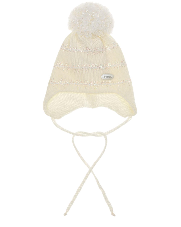 Купить Шерстяная шапка с отделкой в полоску Il Trenino детская, Белый, 100%шерсть