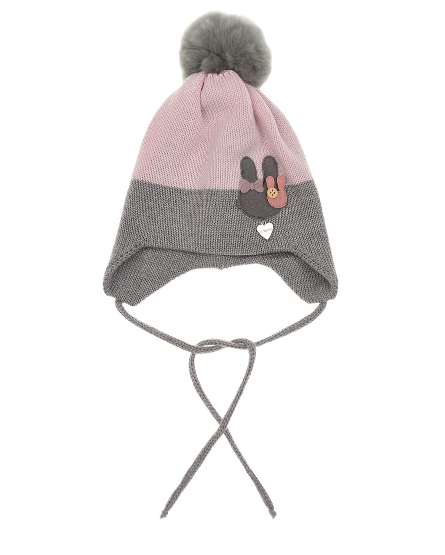 Купить Шерстяная шапка с аппликацией зайчик Il Trenino детская, Розовый, 100%шерсть, нат.мех Кролика