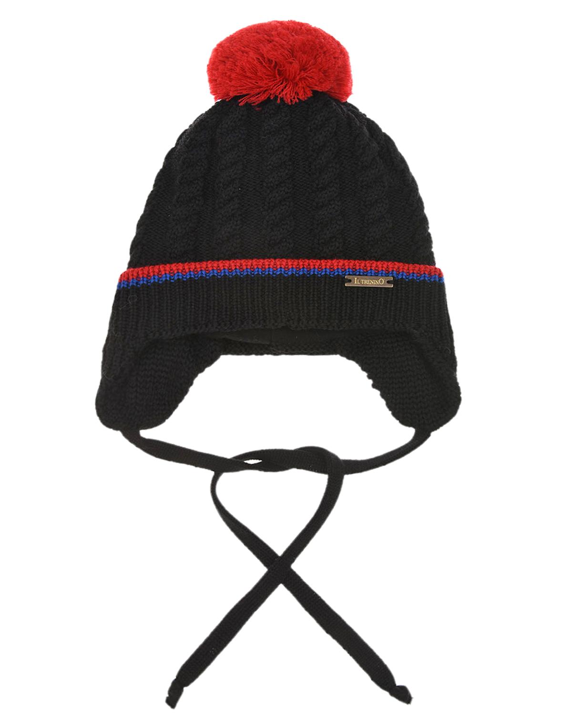 Купить Утепленная шапка с красным помпоном Il Trenino детская, Черный, 100%шерсть