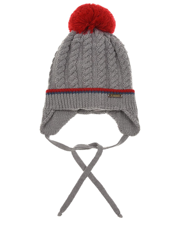 Купить Серая утепленная шапка с красным помпоном Il Trenino детская, Серый, 100%шерсть