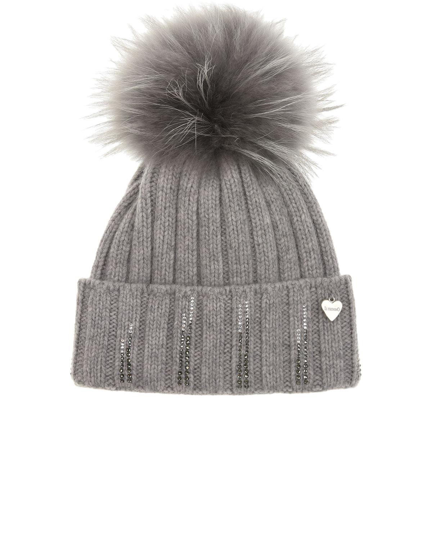 Купить Серая шапка со стразами Il Trenino детская, Серый, 70%шерсть+30%кашемир, нат.мех Енота