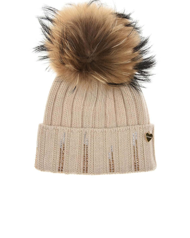 Купить Бежевая шапка со стразами Il Trenino детская, Бежевый, 70%шерсть+30%кашемир, нат.мех Енота