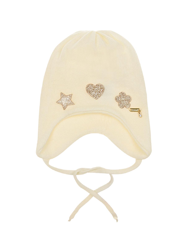 Купить Шерстяная шапка с золотистыми патчами Il Trenino детская, Кремовый, 100%шерсть