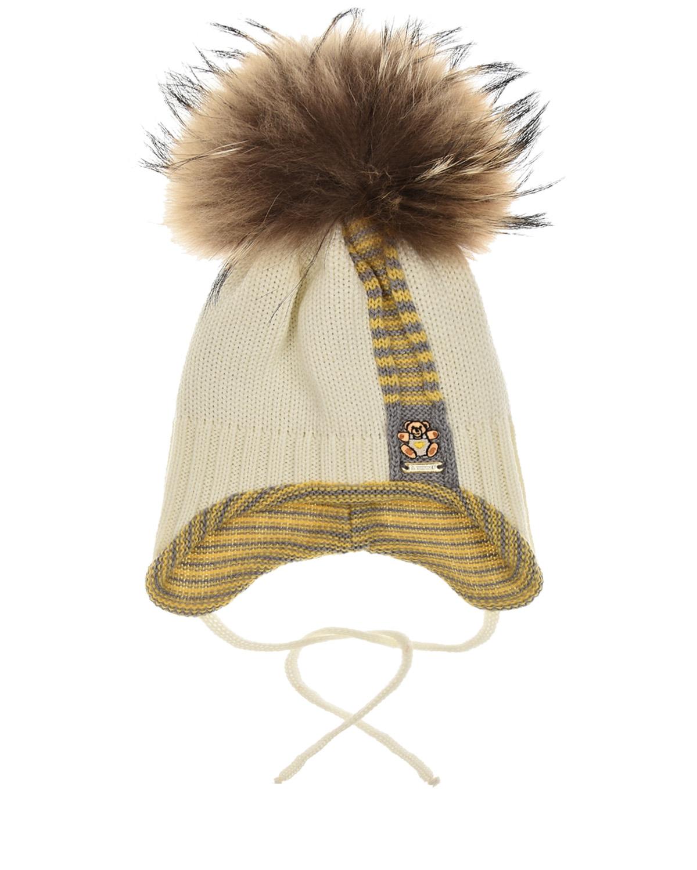 Купить Шерстяная шапка с вышитым медвежонком Il Trenino детская, Кремовый, 100%шерсть, нат.мех Енота