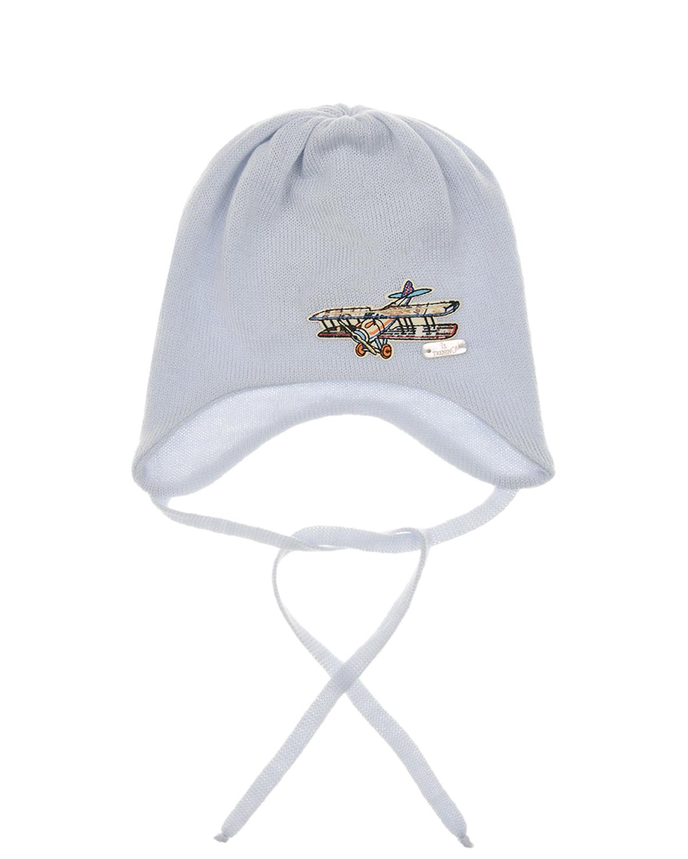 Купить Шерстяная шапка с патчем самолетик Il Trenino детская, Голубой, 100%шерсть