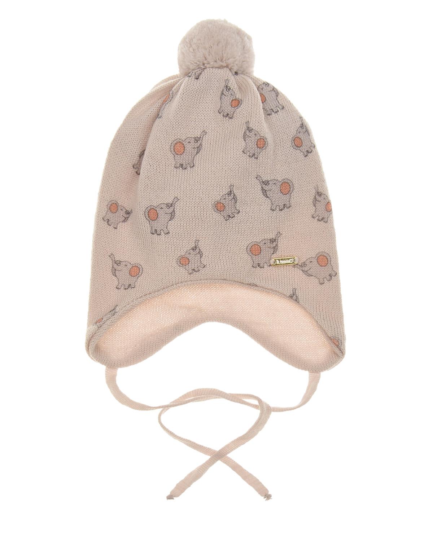 Купить Шерстяная шапка с принтом слонята Il Trenino детская, Бежевый, 100%шерсть