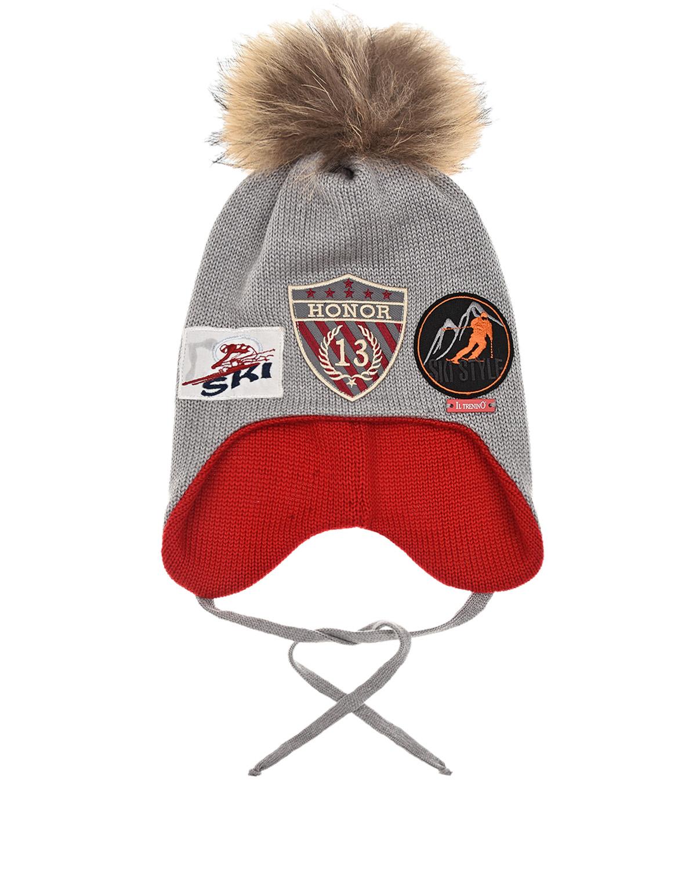 Купить Шерстяная шапка с патчами зимний спорт Il Trenino детская, Серый, 100%шерсть, нат.мех