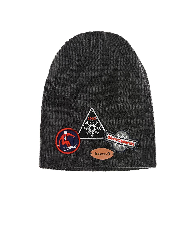 Купить Шерстяная шапка с патчами зимний спорт Il Trenino детская, Серый, 100%шерсть