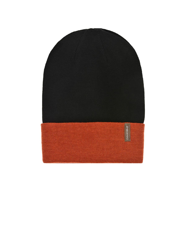 Купить Шерстяная шапка с оранжевым отворотом Il Trenino детская, Хаки, 100%шерсть